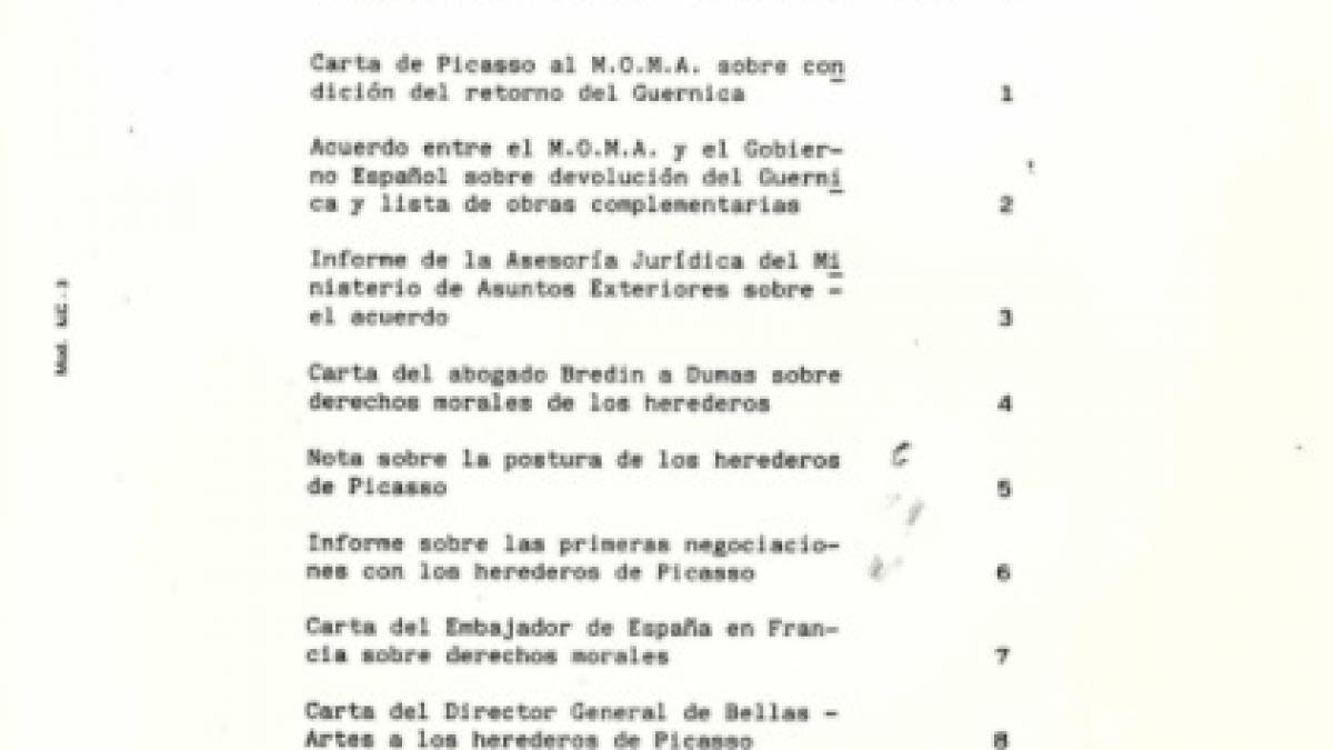 Ordenación de Colecciones: Traslado de la obra  Guernica de Pablo Picasso al Centro de Arte Reina Sofía