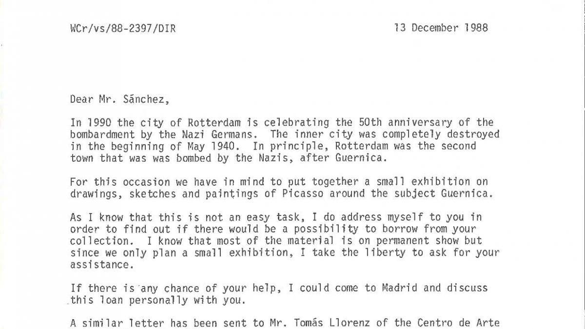 Correspondencia sobre el proyecto de exposición sobre Guernica del Museum Boymans-van Beuningen de Róterdam