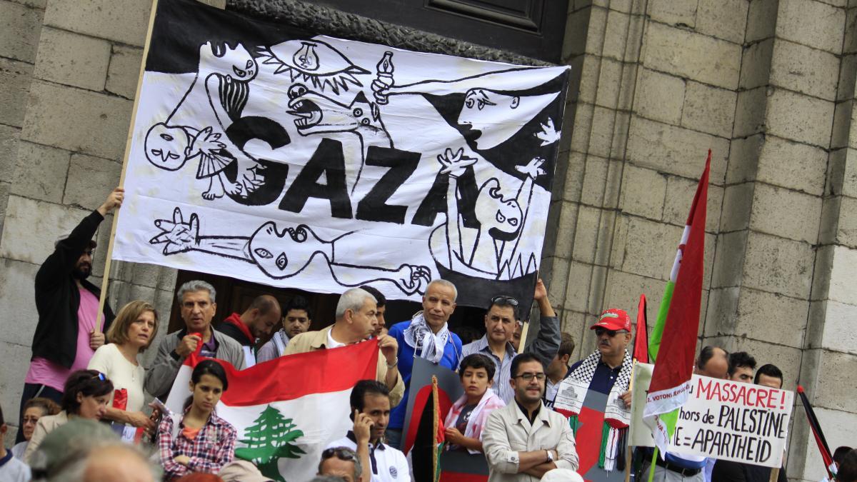 Manifestación pro-Palestina contra la ofensiva militar israelí en Gaza