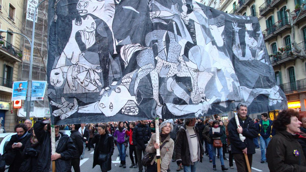 Demonstration against evictions in Spain. Citizens protest against the mortgage law that causes suicides