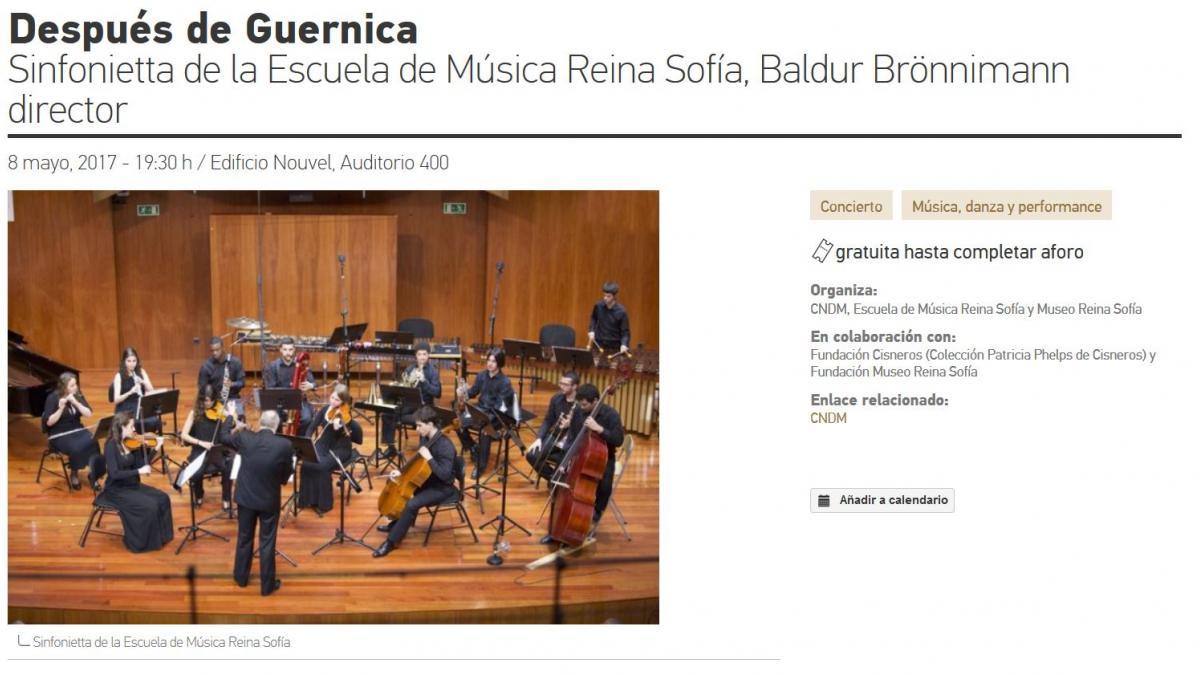 Después de Guernica. Sinfonietta de la Escuela de Música Reina Sofía, Baldur Brönnimann director