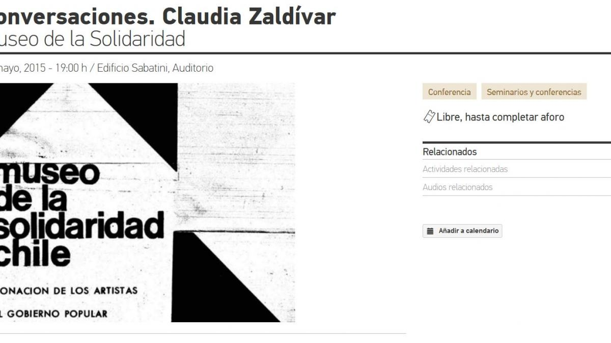 Conversations. Claudia Zaldívar. Museum of Solidarity