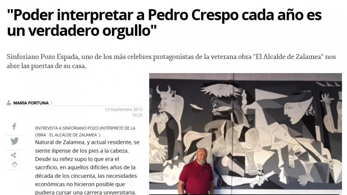 """Entrevista a Sinforiano Pozo Espada:  """"Poder interpretar a Pedro Crespo cada año es un verdadero orgullo"""""""