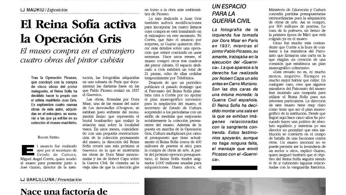 El Reina Sofía activa la Operación Gris