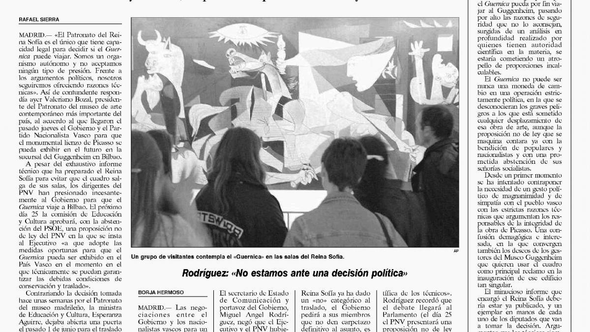 El Reina Sofía no aceptará presiones políticas para ceder el «Guernica»
