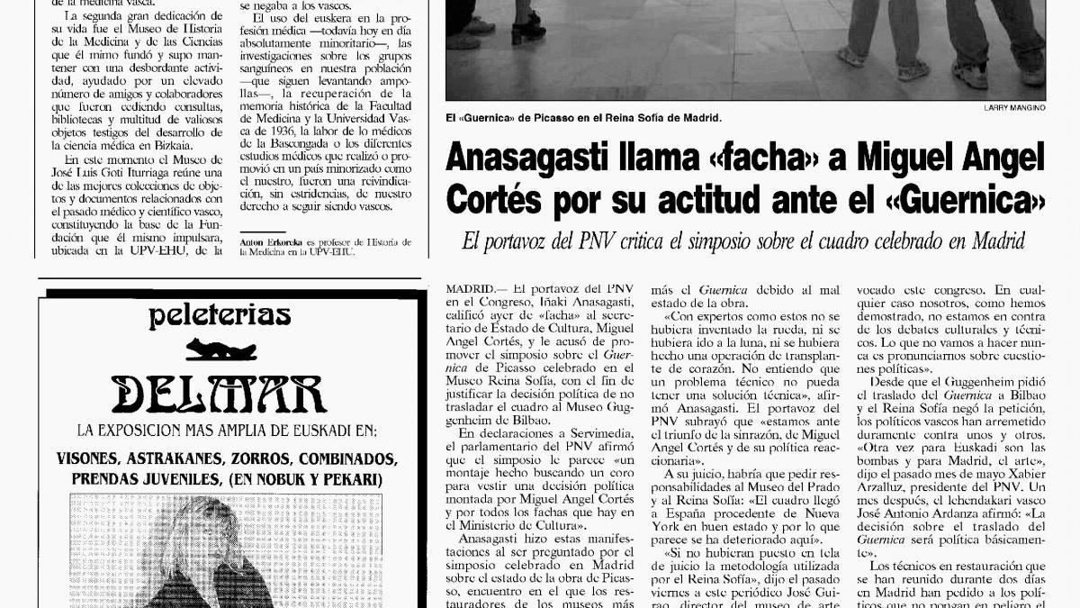 Anasagasti llama «facha» a Miguel Ángel Cortés por su actitud ante el «Guernica»