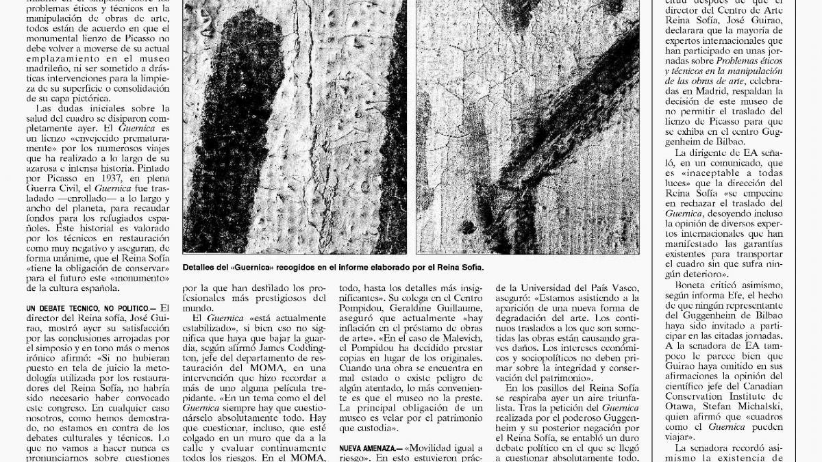 Los restauradores más importantes respaldan la decisión de no volver a mover el «Guernica»