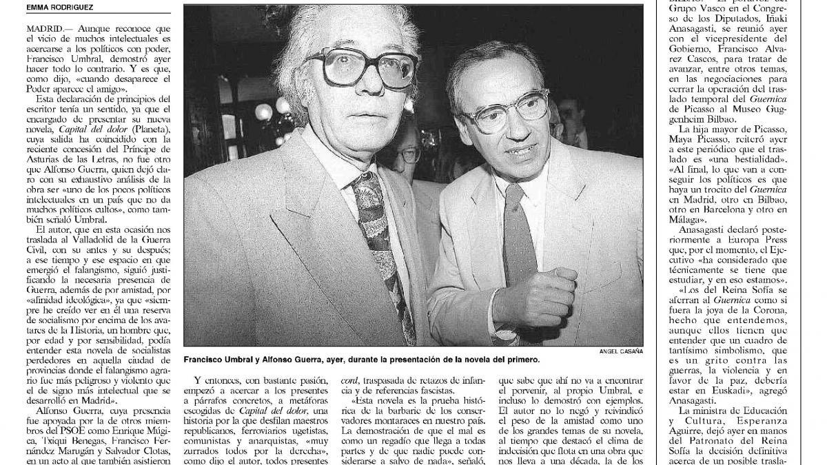 Gobierno y PNV tratan el traslado de «Guernica»
