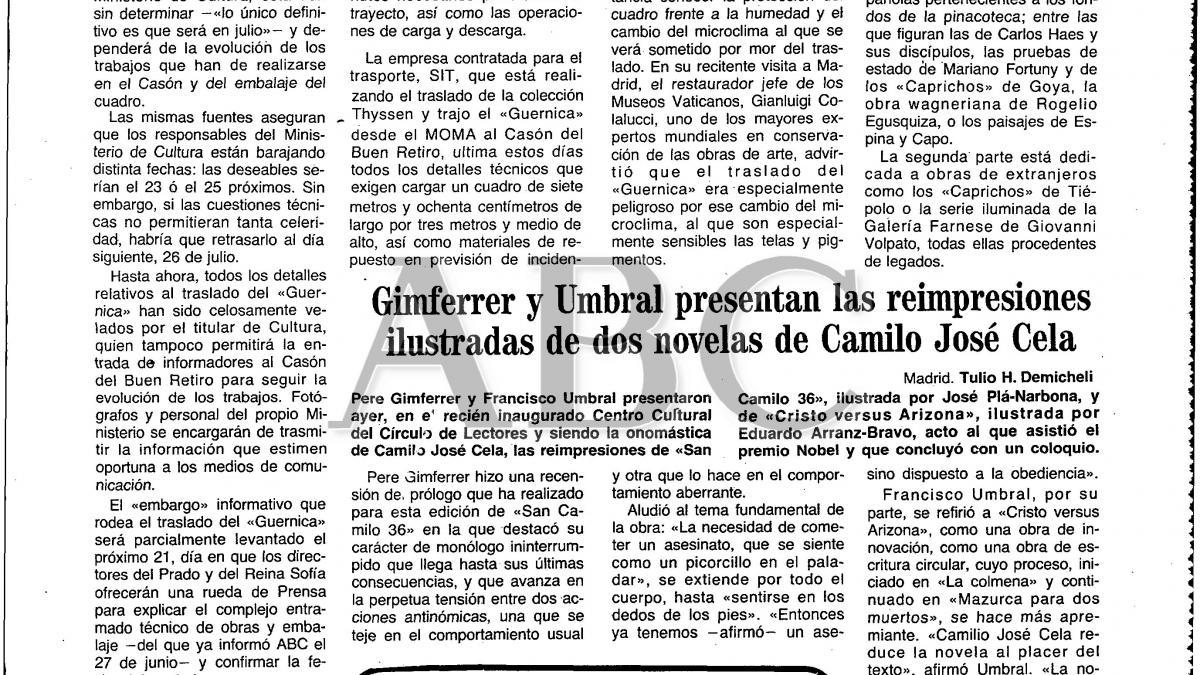 Decenas de policías y fuerzas de seguridad intervendrán en el traslado de «Guernica»