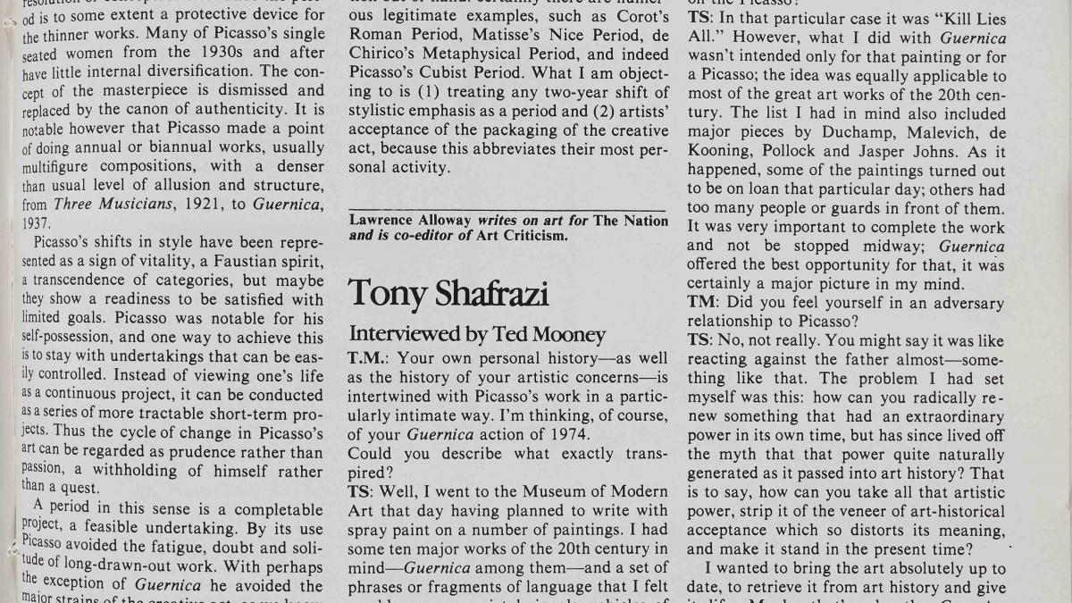 Entrevista a Tony Shafrazi por Ted Mooney