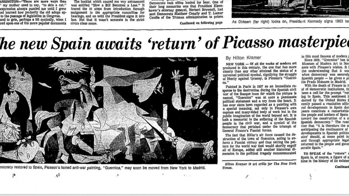 """La nueva España espera el """"regreso"""" de la obra maestra de Picasso"""