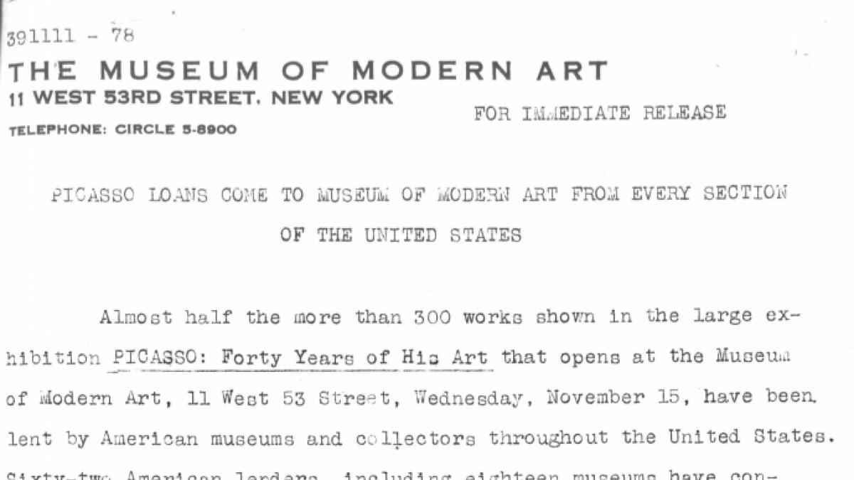 Préstamos de Picasso llegan al Museum of Modern Art de todos los rincones de Estados Unidos